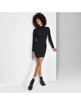 Women's Plus Size Long Sleeve Mock Turtleneck Knit Dress   Wild Fable™ Black by Wild Fable