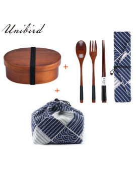 Unibird Japanese Wooden Lunch Box Compartment Sushi Food Container For Kids Bento Box With Bag&Spoon Chopsticks Dinnerware Set by Ali Express.Com