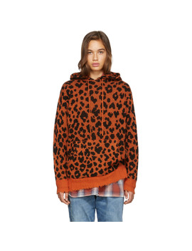 Orange Leopard Cashmere Hoodie by R13