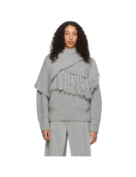 Grey Scarf Sweater by Sacai