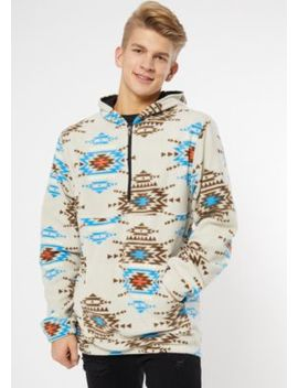 Tan Border Print Polar Fleece Hoodie by Rue21