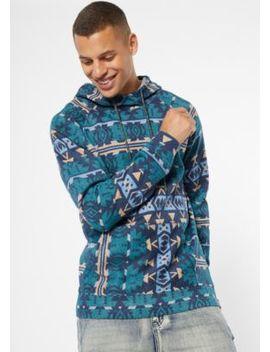 Teal Ikat Print Pullover Hoodie by Rue21