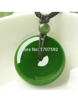 Natural Green He Tian Jade Jasper Peace Buckle Auspicious Blessings Lucky Pendants + Free Necklace Certificate Lovers Jewelry by Ali Express.Com
