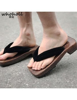 Whoholl Wooden Slippers Man Japanese Samurai Clogs Wooden Flat Geta Male Cosplay Costumes Thick Bottom Japanese Clogs Male by Ali Express.Com