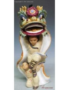Ancient Chinese Traditional Lion Dragon Dance Ceramic Porcelain Figurine Statue by Ebay Seller