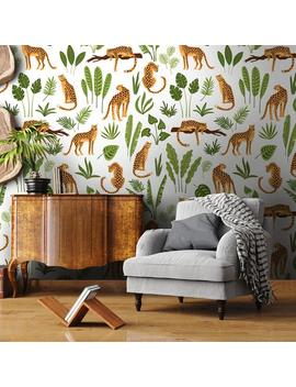 Leopards Removable Wallpaper, Tropical Leaves Self Adhesive Wall Mural, Wild Jaguar Peel & Stick Decal, Exotic Jungle Nature Temporary Decor by Etsy