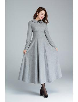 Long Grey Dress, Wool Dress, Winter Dress, Pocket Dress, High Waisted Dress, Womens Dress, Fit And Flare Dress, Custom Dress 1613# by Etsy