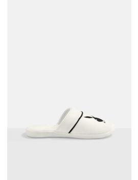 Playboy X Missguided White Embroidered Slippers by Missguided