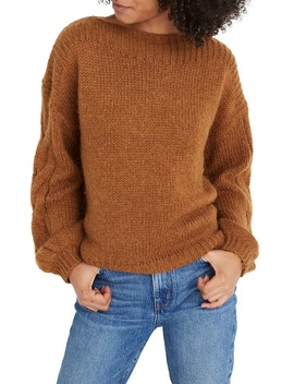 Cable Sleeve Boat Neck Sweater by Madewell