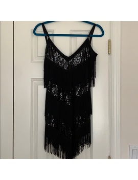 Black Fringe Sequin Flapper Dress Size Small by Leg Avenue
