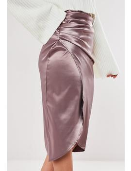 Tall Purple Satin Ruched Midi Skirt by Missguided