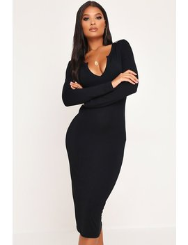 Black Long Sleeve Knotch Front Midi Dress by I Saw It First