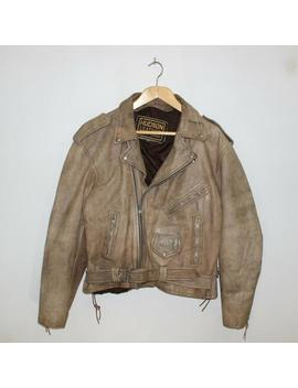Vintage Hudson Leather Classic Motorcycle Jacket Size 48 Beige Tassles by Etsy
