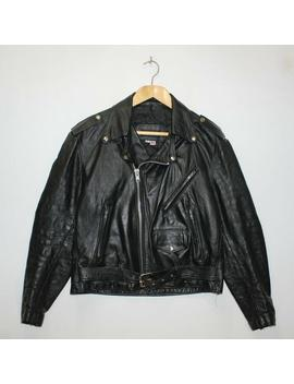 Vintage Steer Brand Classic Leather Motorcycle Jacket Size 42 Black Made Usa by Etsy