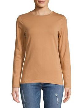 Long Sleeve Essential Cotton T Shirt by Lord & Taylor