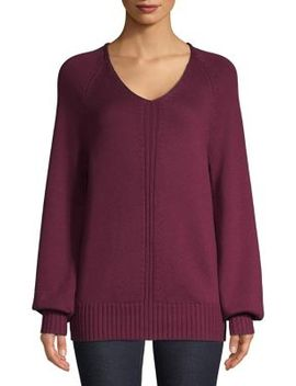Raglan Sleeve Ribbed Sweater by Lord & Taylor