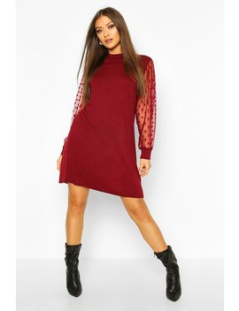 High Neck Polka Dot Sleeve T Shirt Dress by Boohoo