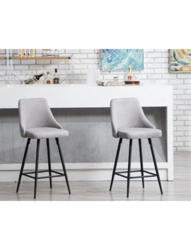 Sanas Upholstered Dining Bar Chairs, Set Of 2 Full Back Stool Chairs Grey by Bt Expert