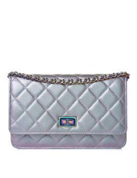 Chanel Iridescent Lambskin Quilted Reissue Wallet On Chain Woc Light Purple by Chanel