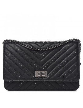 Chanel Sheepskin Chevron Quilted Studded Reissue Wallet On Chain Woc Black by Chanel
