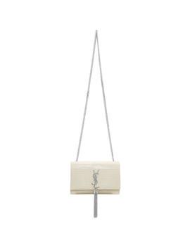 Off White Croc Kate Tassel Bag by Saint Laurent