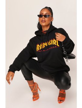 Black Baby Girl Flames Hoodie by I Saw It First