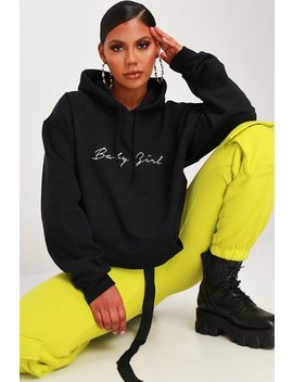 Black Baby Girl Slogan Oversized Hoodie by I Saw It First