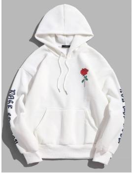 Rose Letter Fleece Kangaroo Pocket Pullover Hoodie   White M by Zaful