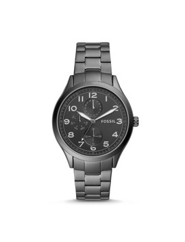 Wylie Multifunction Smoke Stainless Steel Watch by Fossil