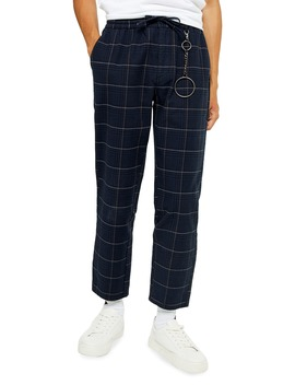 Stitch Check Skinny Fit Drawstring Pants by Topman