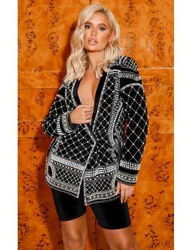 Premium Black Velvet Embellished Beaded Oversized Blazer by Prettylittlething