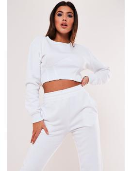 White Corset Detail Cropped Sweatshirt by Missguided