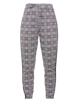 Grey Check Side Stripe Jogger by Prettylittlething