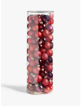 John Lewis & Partners Traditions Shatterproof Assorted Baubles, Tub Of 100, Red by John Lewis & Partners