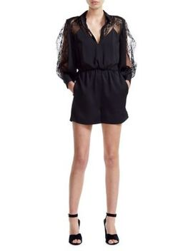 Ines Lace Sleeve Playsuit by Maje