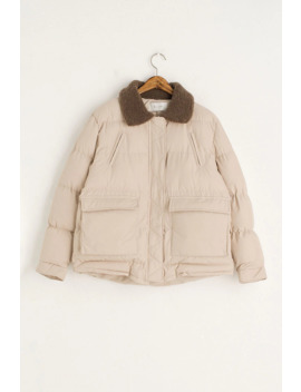 Jay Shearling Collar Puff Jacket, Beige by Olive
