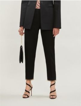 Slim Fit High Rise Wool And Silk Blend Trousers by Burberry