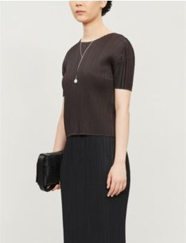 High Neck Pleated T Shirt by Pleats Please Issey Miyake
