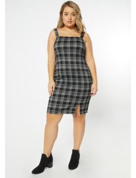 Plus Black Plaid Print Sleeveless Overall Dress by Rue21