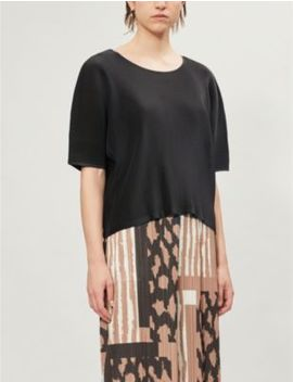 Mist June Boat Neck Woven Pleated Top by Pleats Please Issey Miyake