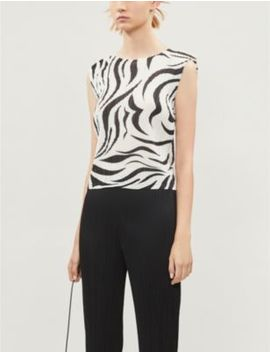 Aroma Graphic Print Sleeveless Crepe Top by Pleats Please Issey Miyake