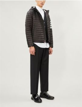 Padded Shell And Down Blend Hooded Jacket by Thom Browne