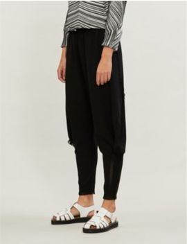 Fringe Trim Tapered Cotton And Nylon Blend Trousers by Issey Miyake