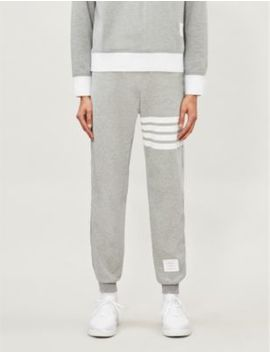 Striped Logo Patch Cotton Jersey Jogging Bottoms by Thom Browne