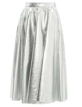 Metallic Faux Leather Flared Midi Skirt by Msgm