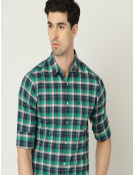 Men Green & Navy Blue Slim Fit Checked Casual Shirt by United Colors Of Benetton