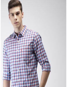 Men Pink & Blue Slim Fit Checked Casual Shirt by Levis