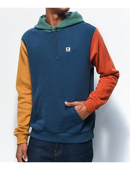 Brixton Stowell Vii Blue & Orange Colorblock Hoodie by Brixton