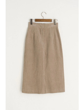 H Line Cord Skirt, Brown by Olive