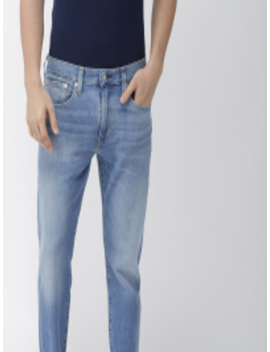 Men Blue Tapered Fit Mid Rise Low Distress Stretchable Jeans 512 by Levis